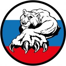 1032 Наклейка РУС Триколор Медведь виниловая, размер 10*10см