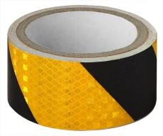 A7026 Светоотражающий скотч, ширина 5см, длина 50м, черно-желтый, скошенные полосы