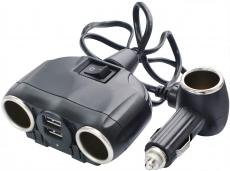 G4000 Разветвитель 3 универсальных слота, 2 USB (1А+2А), черный, Olesson 1630