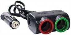 G4011 Разветвитель 2 незда, 1 USB, черный Olesson 1631, светодиодная подсветка