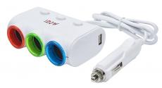 G4014 Разветвитель, 3 слота, 2 USB, с функцией индивидуального отключения слотов, с подсветкой, бел