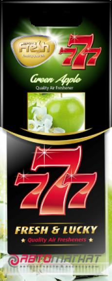 15339 Ароматизатор подвесной,бумажный,пластинка,777,Зеленое яблоко(Green apple),FRESH WAY,Болгария