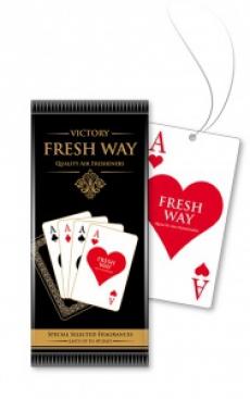 15427 Ароматизатор подвесной,бумажный,пластинка,Four of kind ACES,Червовый Туз(Hearts),FRESH WAY