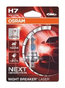 Автолампа H7 12v 55w PX26D Night Breaker Laser +150% Osram (блистер 1шт) 64210 NL-01B
