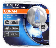 64176 CBI_HCB Автолампа H15 12v 55/15w PG23T-1 Cool Blue Intense (4200К) Osram (к-т.2шт.)