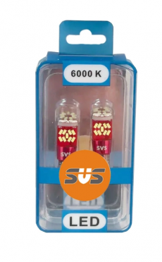W5W Комплект светодиодных ламп SVS 12-24V (27-smd 2w 6000K Chip4014 162Lm ) CANBUS