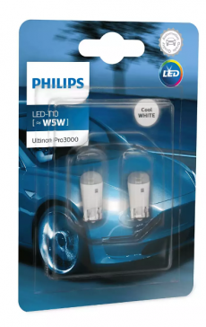 11961U30CWB2 Лампа светодиодная 12V-0.6w W5W 1W 6000K LED Pro3000 (2шт) Philips