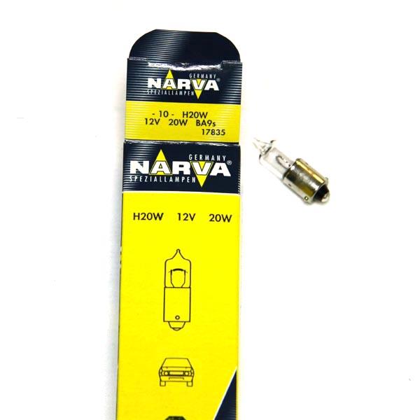 Автолампа 12V H20W BA9s NARVA 17835