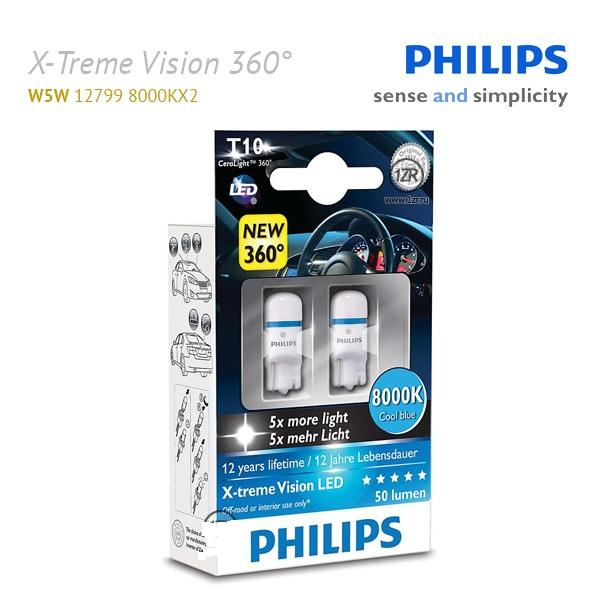 12799 8000KX2 Лампа светодиодная 12V W5W 1W LED 8000K (2шт) Philips