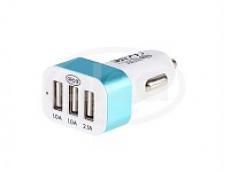 Зарядное устройство с 3-мя USB, 2.1 А. Бело-голубое ALCA