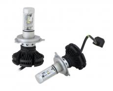Комплект светодиодных ламп SVS H4 hi/low серии X3 (к-ты фильтра W/Y(CSP-чип/6000Lm/5000K/9-32V/50W)