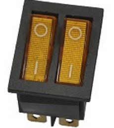 905446 Клавиша 250V 15А ДВОЙНАЯ желтая с подсветкой (6конт.) ON-OFF