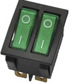905447 Клавиша 250V 15А ДВОЙНАЯ зеленая с подсветкой (6конт.) ON- OFF