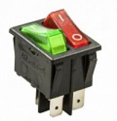 905459 Клавиша 250V 16А зеленая с подсветкой (4конт.) ON-OFF
