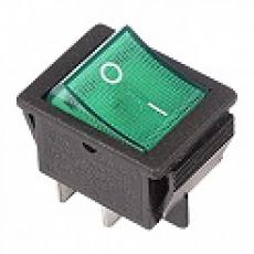 905455 Клавиша 250V 15А зеленая с подсветкой (6конт.) ON-ON