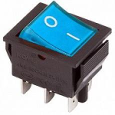 905457 Клавиша 250V 15А синяя с подсветкой (6конт.) ON-ON