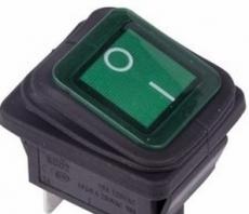 905940 Клавиша 250V 15А зеленая с подсветкой (4конт) ON-OFF ВЛАГОЗАЩИТА