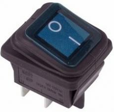 905942 Клавиша 250V 15А синяя с подсветкой (4конт) ON-OFF ВЛАГОЗАЩИТА