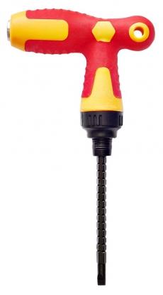A0009 Отвертка-рычаг двухцветная, двухсторонняя, с трещоткой