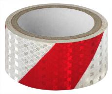 A7021 Светоотражающий скотч ширина 5см, длина 50м, красно-белый, скошенные полосы