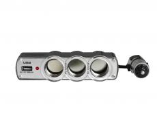 G4002 Разветвитель гнезда прикуривателя на 3 устройства с USB, 120