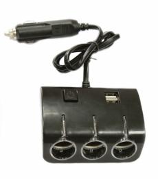 G4007 Разветвитель 3 гнезда 2 USB, черный жесткий OLESSON 1506 c подсветкой