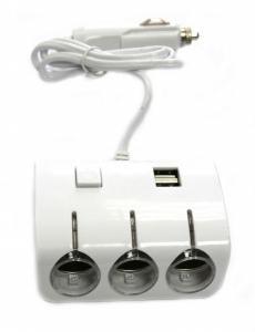 G4008 Разветвитель 3 гнезда 2 USB, белый жесткий OLESSON 1506 с подсветкой