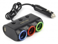 G4015 Разветвитель, 3 слота, 2 USB, с функцией индивидуального отключения слотов, с подсветкой, черн