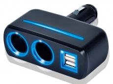 G4021 Разветвитель, 2 слота, 2 USB, со светодиодной подсветкой, цвет черный