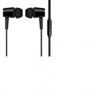 Наушники-вкладыши черные, с микрофоном