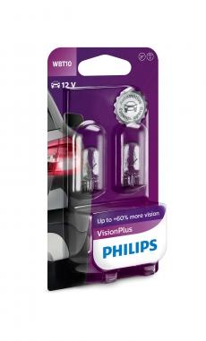 Автолампа 12V W6W W2.1*9.5d (блистер 2шт) Vision Plus +60% PHILIPS 12040 VPB2