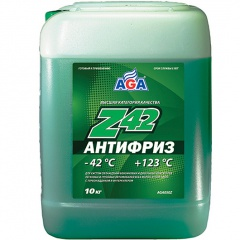 050 Антифриз, готовый к применению, зеленый -42С 10 литров ANTIFREEZE AGA-Z42, PREMIX