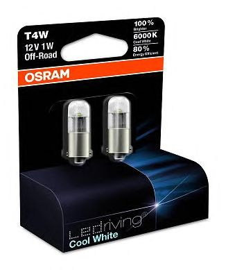3850CW-02B Лампа светодиодная 12V T4W 1W 6000K Белая (2шт) OSRAM