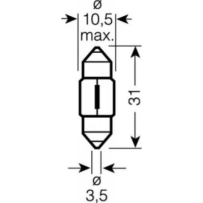 Автолампа 12V C10W SV8,5-8 31mm OSRAM 6438