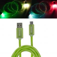 CBL750-UMU-10G Кабель-переходник светящийся USB-микроUSB зеленый WIIIX 1m