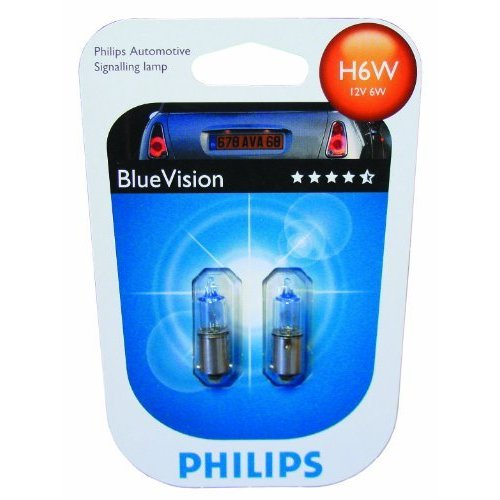 Автолампа 12V H6W BAX9s (блистер 2шт) Blue Vision Philips 12036BV-02B