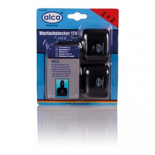 Разветвитель прикуривателя с 3-мя выходами и 2 разъемами USB(удлинит.2м) 511410 Alca