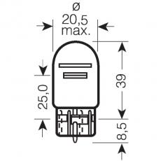 Автолампа галогенная SVS W21/5W 12V W3x16q