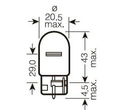 Автолампа галогенная SVS W21W 12V W3x16d