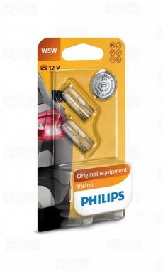Автолампа 12V W5W W2,1x9,5d (бесцокольная, блистер 2шт.) Philips 12961-02B